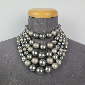 Vintage Grey Beaded Layered Necklace